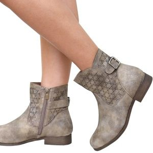 Taupe Distressed Perforated Mid-Calf Booties Boot